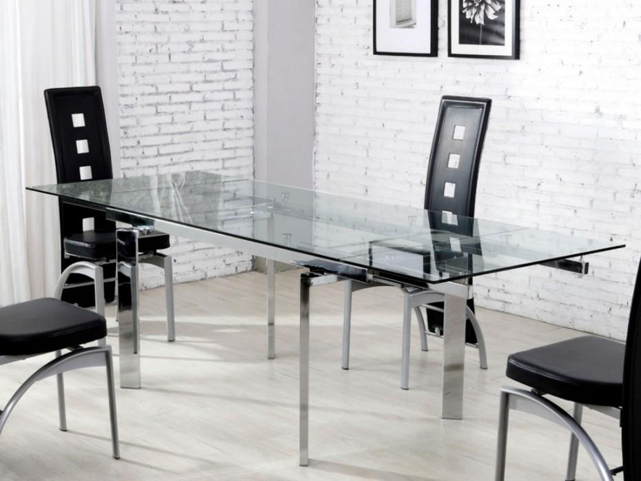 Table Extensible Melen Verre Trempé 6 à 8 Couverts Table à Manger