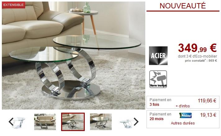4aaa79a5a194e1 Table basse avec plateaux pivotants JOLINE pas cher - Table basse Vente  Unique  (Maison)  Vente Unique Table basse avec plateaux pivotants JOLINE  Verre ...