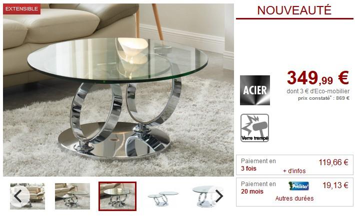 Table Basse Avec Plateaux Pivotants Joline Pas Cher Table Basse