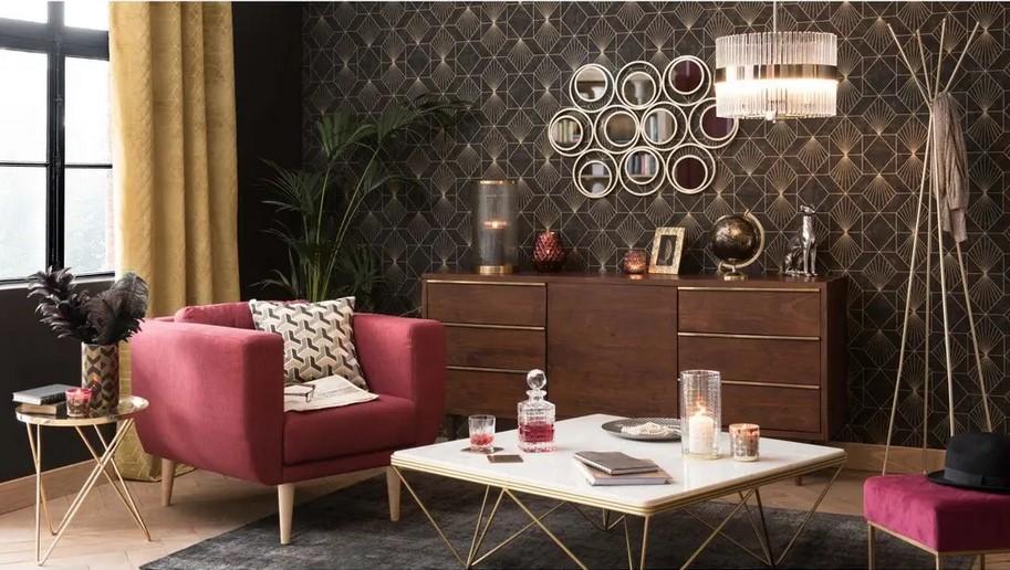 Table basse carrée Gatsby en marbre et métal doré - Maisons du Monde