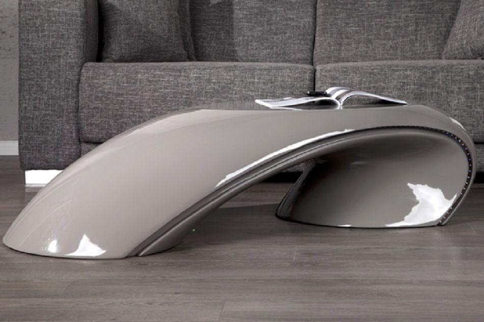 royale deco table basse design led laqu apolon grise table basse mistergooddeal. Black Bedroom Furniture Sets. Home Design Ideas