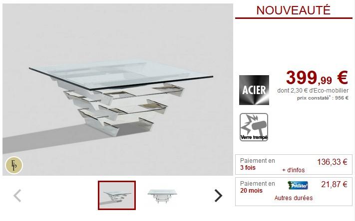 Table Basse Design Castellana Verre Trempé Et Acier Pas Cher Table