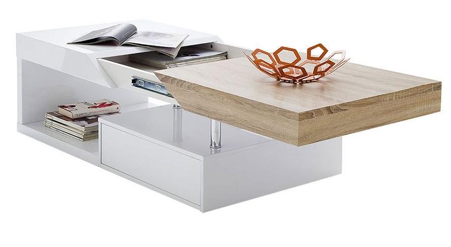 Table Basse Design Slice Avec Rangements Blanc Laque Et Chene Pas Cher Table Basse Milibo