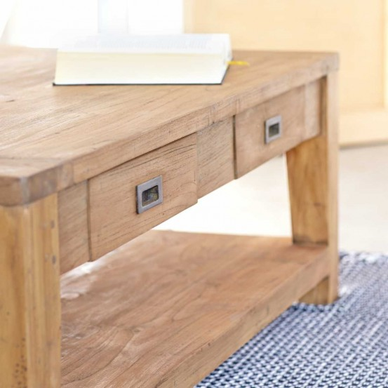 table basse en bois de teck recycl 120 cargo table basse bois dessus bois dessous. Black Bedroom Furniture Sets. Home Design Ideas