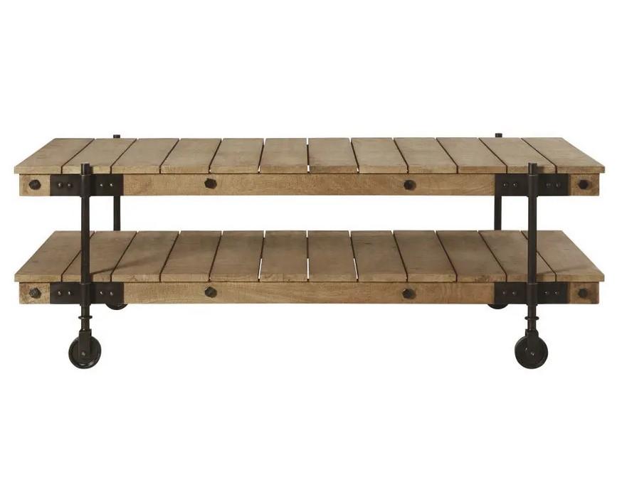 Table basse indus à roulettes Carrello en manguier et métal noir - Maisons du Monde
