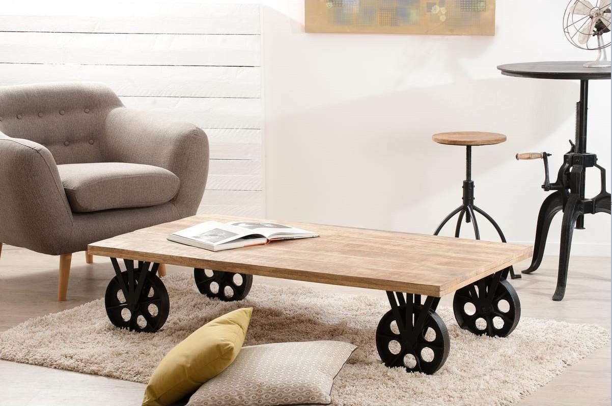 Table Basse Industrielle Pas Cher.Table Basse Industrielle Grosses Roulettes Nael Pas Cher Table Basse Auchan