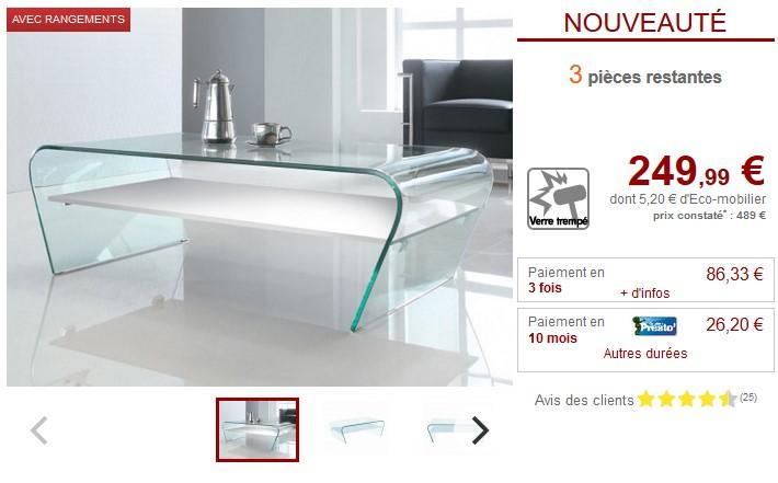 Table Basse Design Kelly Verre Trempe Pas Cher Table Basse Vente