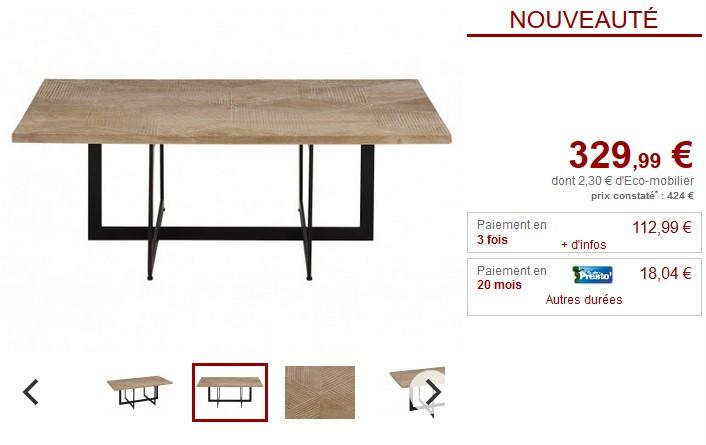 Table basse en bois sculptée MAJONG Manguier et Métal