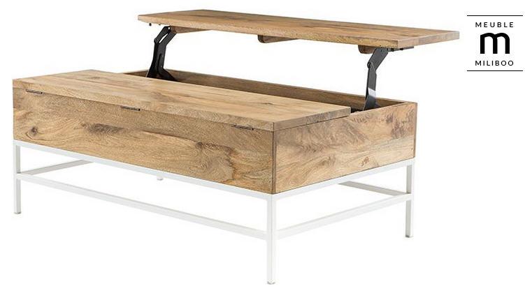 basse BOHO métal et manguier blanc Table pas cher relevable UzVSpM