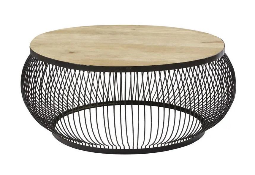 Table Basse Ronde Juana En Manguier Massif Et Metal Noir Table