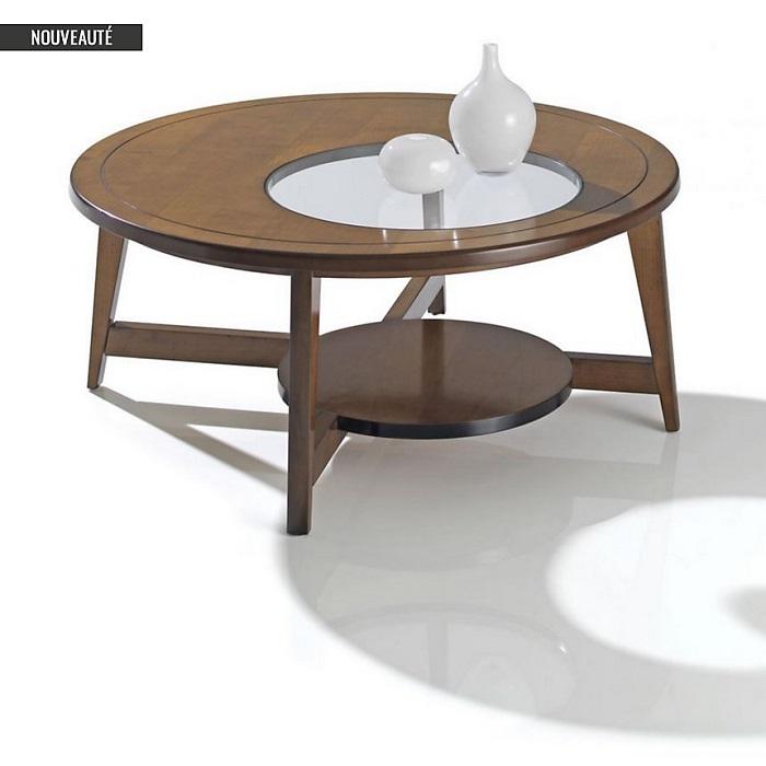 Table basse trempé ronde Camif verre Mercure Table en byY6f7g