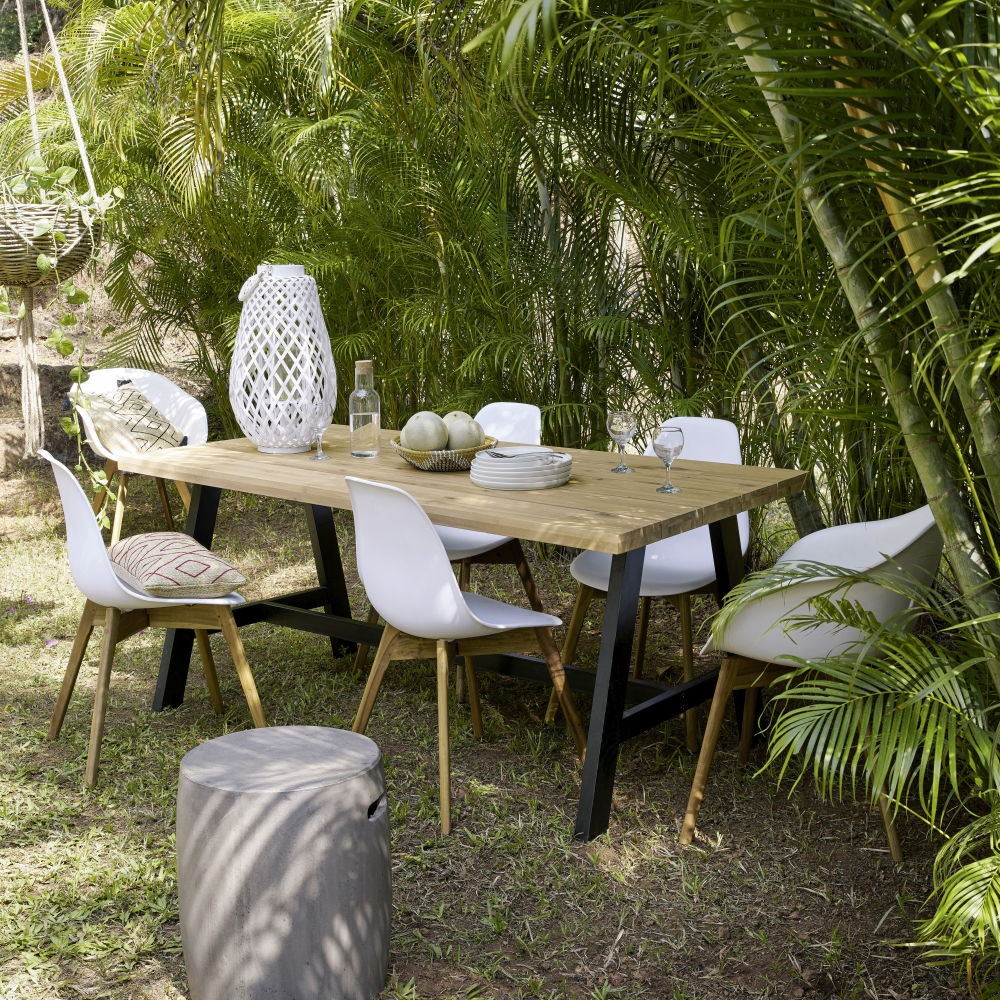table de jardin naterial niagara rectangulaire 6 8 personnes table de jardin leroy merlin. Black Bedroom Furniture Sets. Home Design Ideas