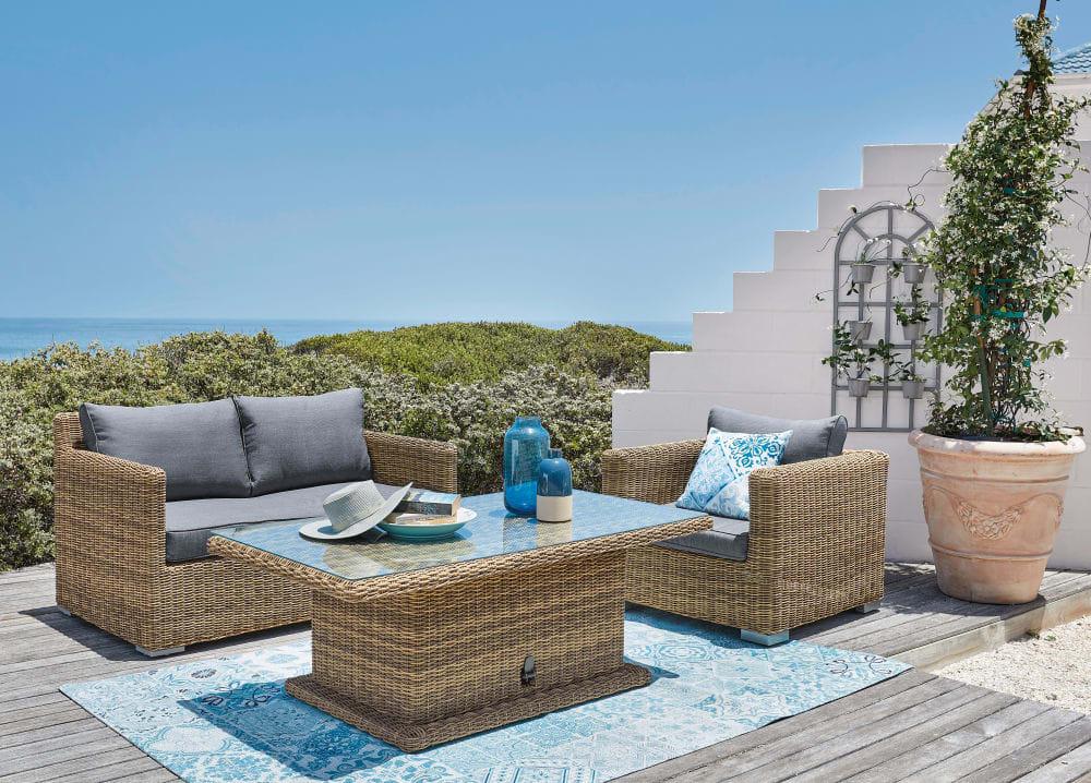 Table de jardin ajustable St Raphaël en résine et verre 6 personnes - Table  de Jardin Maisons du Monde
