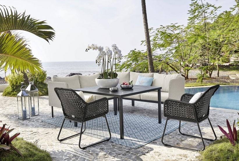 Table de jardin avec Canapé d\'angle Seoul en aluminium et ...