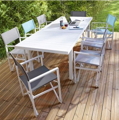 Table de jardin en aluminium Batang blanc - Table de jardin Castorama