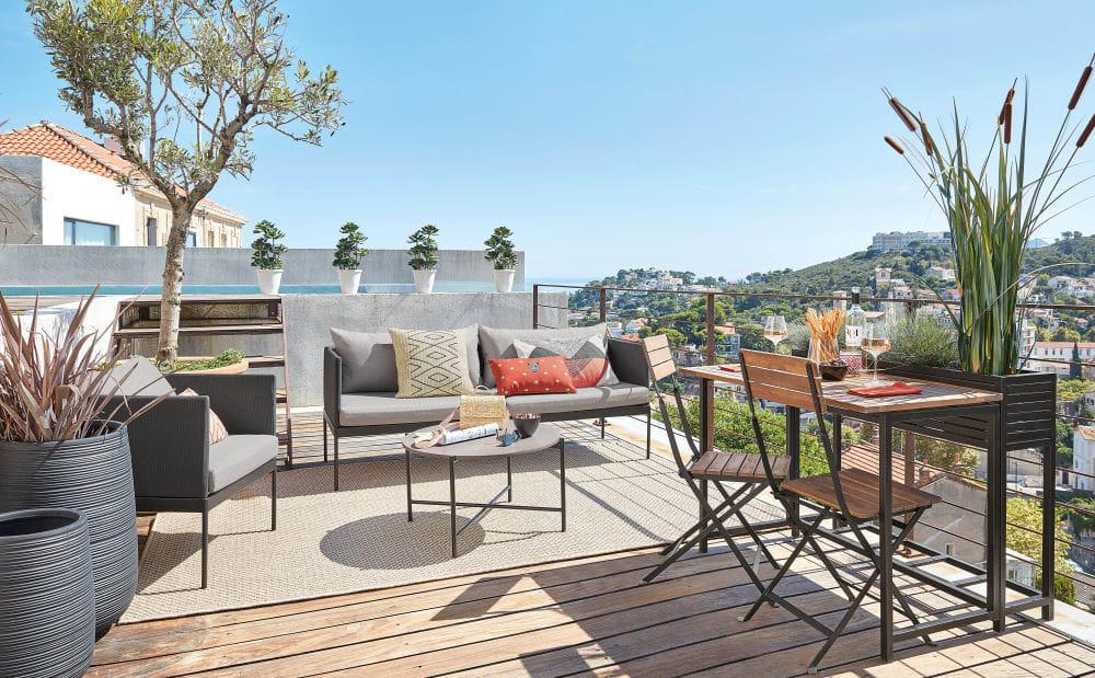 Table de jardin et 2 chaises Calathea en acacia massif et ...