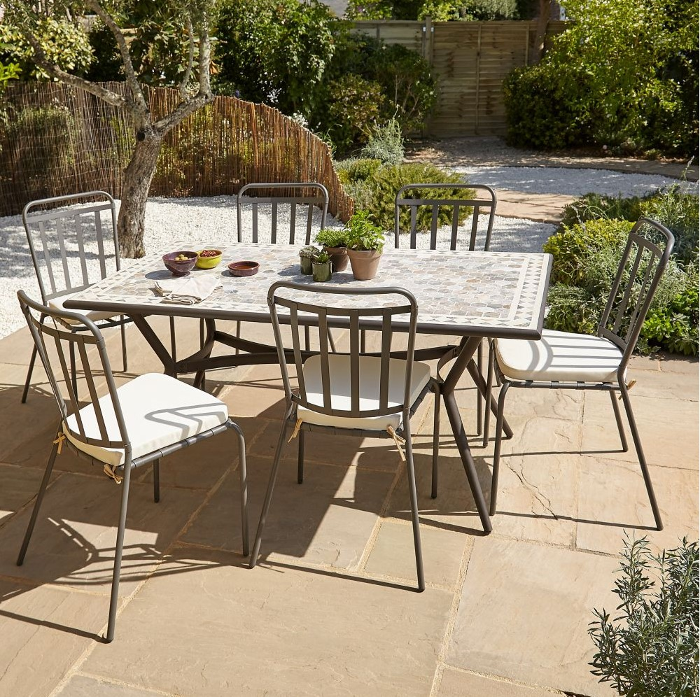 Table de jardin métal et marbre Sofia Blooma - Table de jardin Castorama
