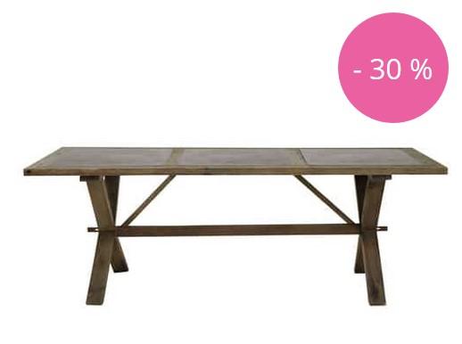Table de salle manger breteuil en pin recycl soldes for Table de salle a manger 220 cm