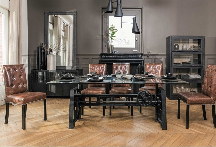 table de salle manger en verre et m tal garibaldi. Black Bedroom Furniture Sets. Home Design Ideas