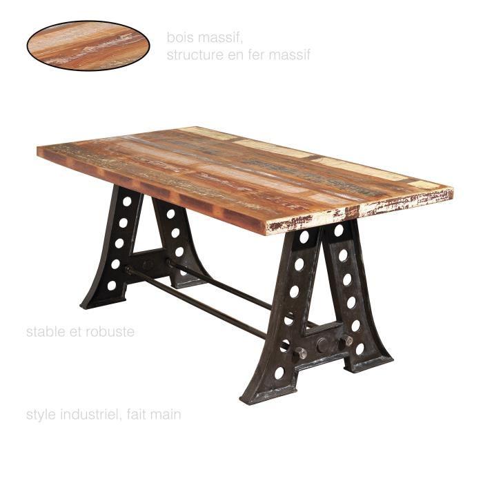 Table à Manger Vintage En Bois Massif Et Pieds En Métal Pas Cher
