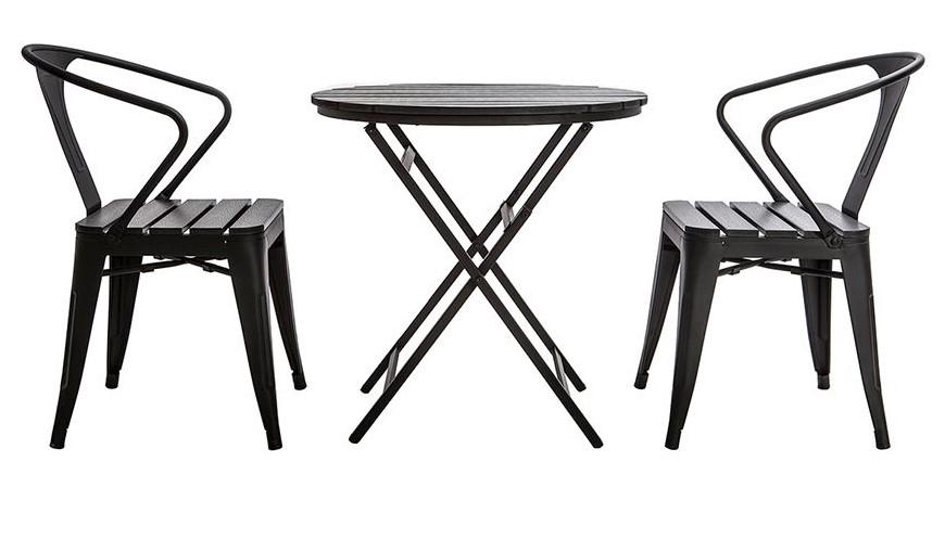 Salon de jardin BERLINER avec table pliable et chaises bois et métal ...