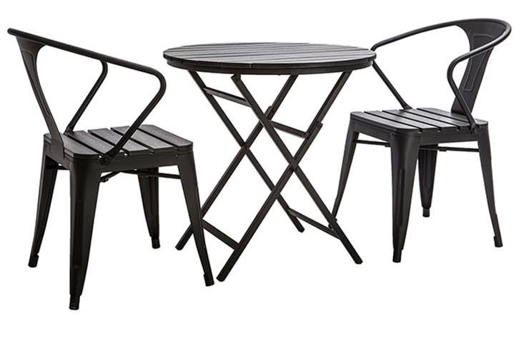 Salon de jardin BERLINER avec table pliable et chaises bois et métal noir