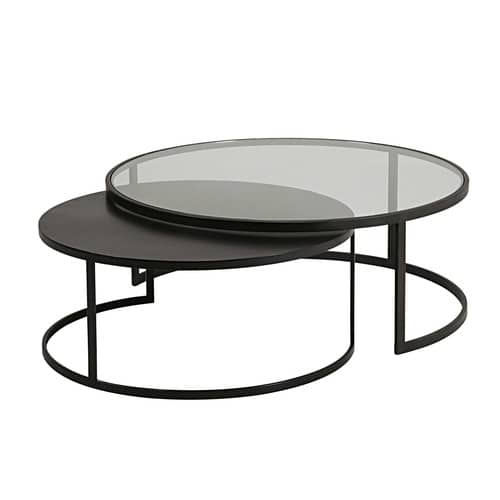 2 tables basses gigognes eclipse en verre tremp et m tal. Black Bedroom Furniture Sets. Home Design Ideas