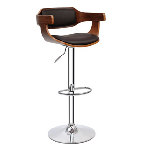 5e094a231df3f7 Tabouret de bar Decoclico, Tabouret de bar en noyer et assise en simili cuir