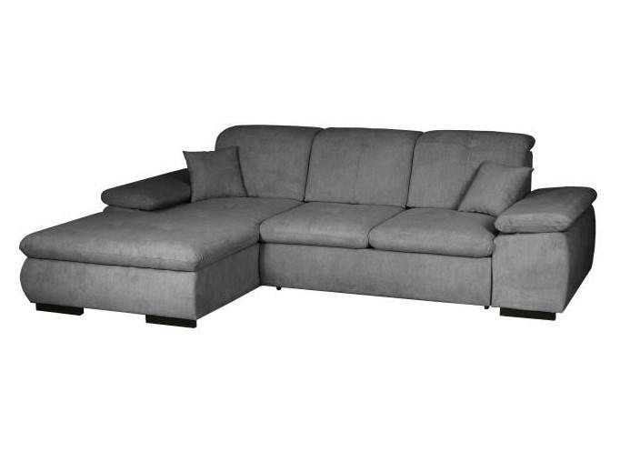 TASMANE Canapé d'angle gauche convertible 4 places + Coffre de rangement Tissu gris anthracite