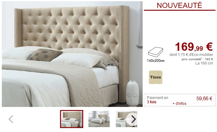lit t te de lit capitonn e sommier agura la redoute interieurs. Black Bedroom Furniture Sets. Home Design Ideas