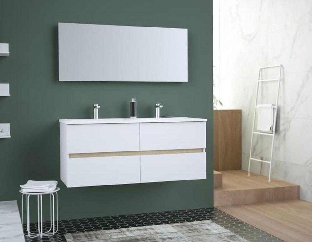 TOTEM Salle de bain double vasque en céramique + miroir pas ...