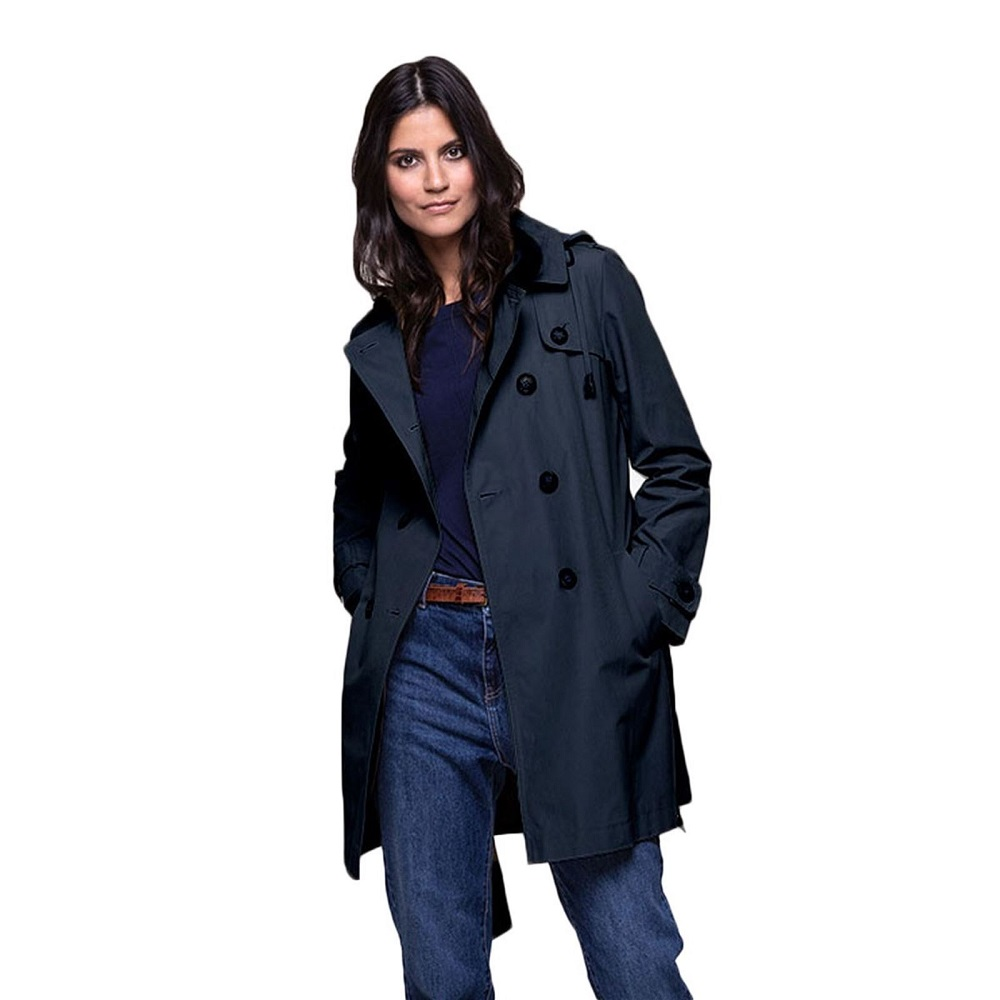 Trench and coat Trench à capuche en coton bleu foncé - Trench Femme  Brandalley  (Mode)  Brandalley Trench and coat Trench à capuche en coton  bleu foncé ... 6b2b898deb41