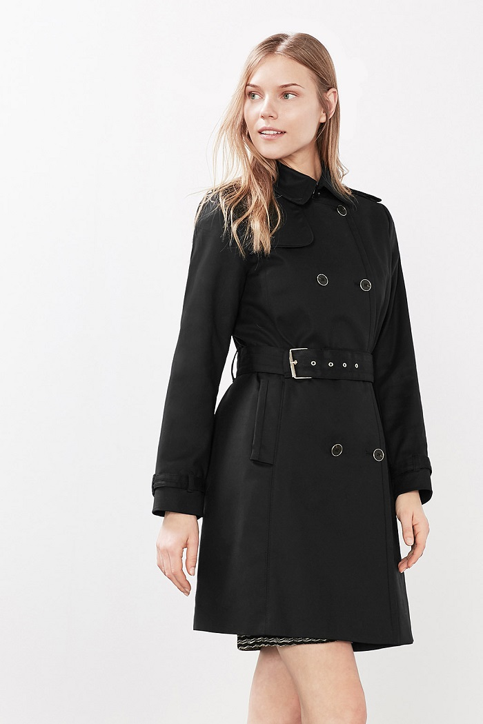 Trench-coat satiné à boutons Esprit