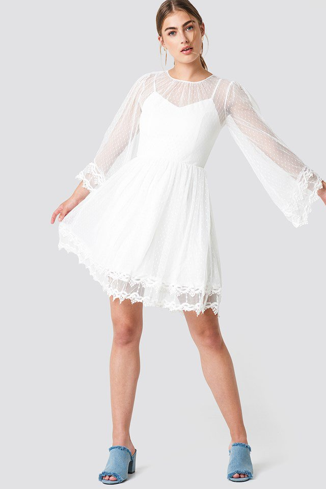 Trumpet Sleeve Lace Dress Trendyol NA-KD