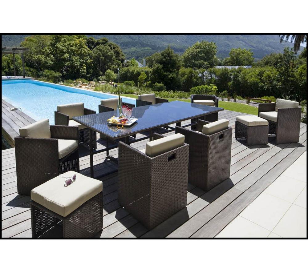 CARREFOUR Ensemble table et 8 fauteuils de jardin Set RIVERSIDE ...
