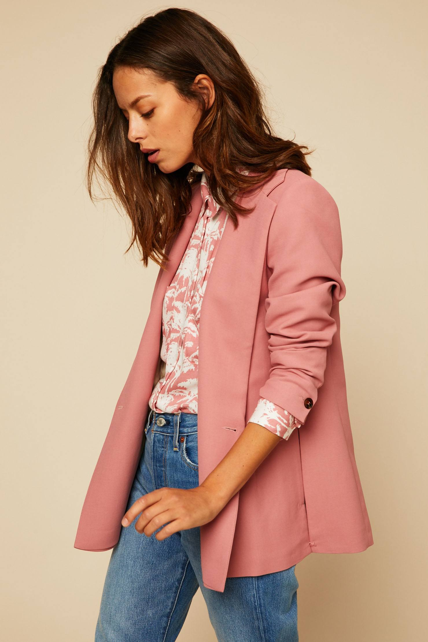 Veste blazer longue rose
