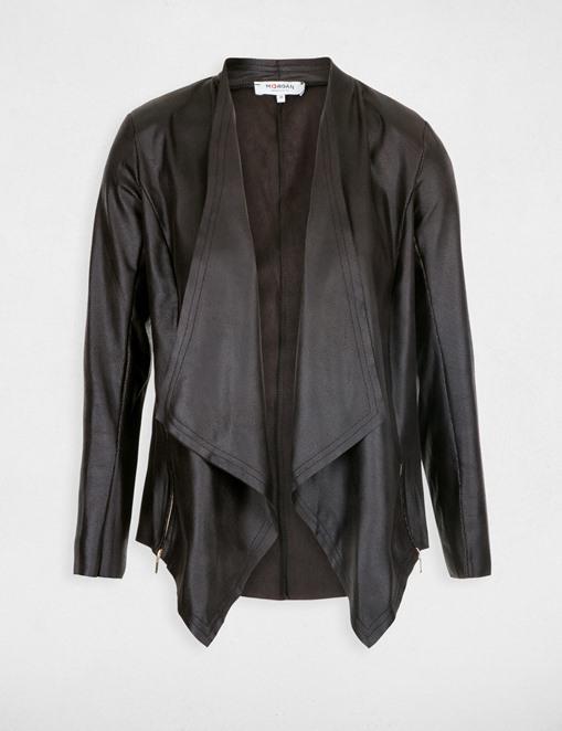 Veste cintrée asymétrique façon cuir Noir Morgan