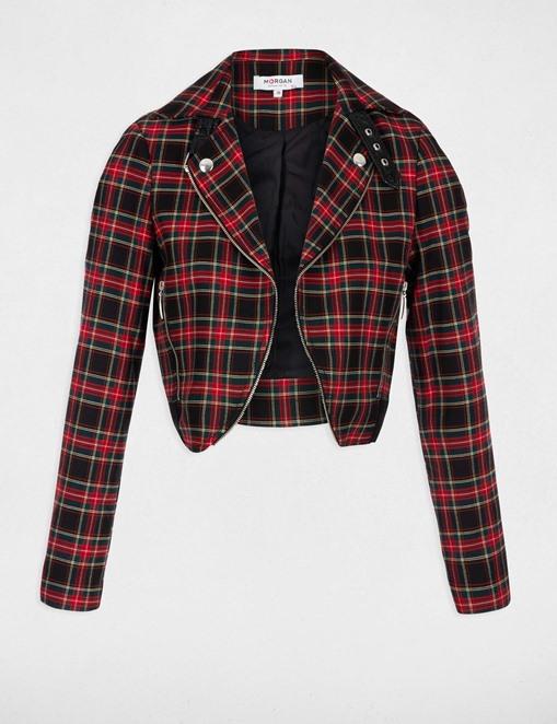 Veste courte à carreaux détail zip Rouge Morgan