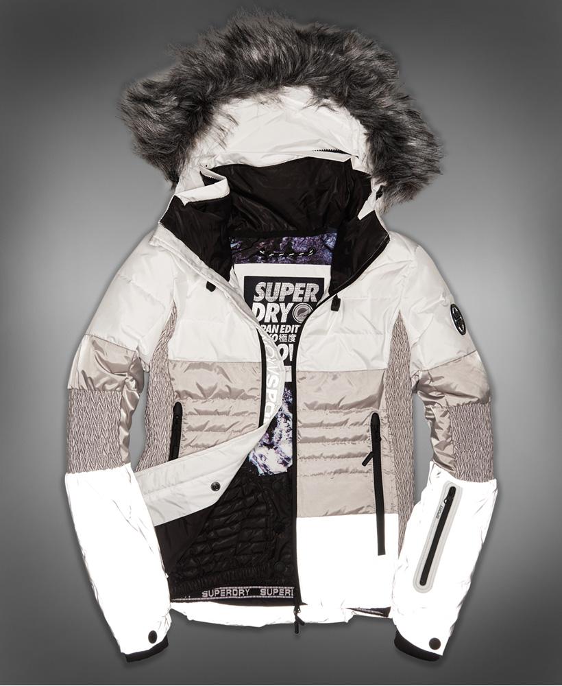 le dernier be1be cbd85 Superdry Veste de ski en duvet Snow Cat Blanc Cassé/gris Réfléchissant