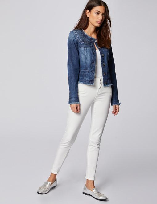 Veste en jean à strass et franges jean stone Morgan