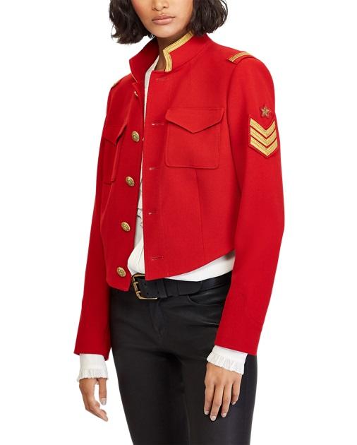 Polo Ralph Lauren Veste militaire courte en tweed rouge