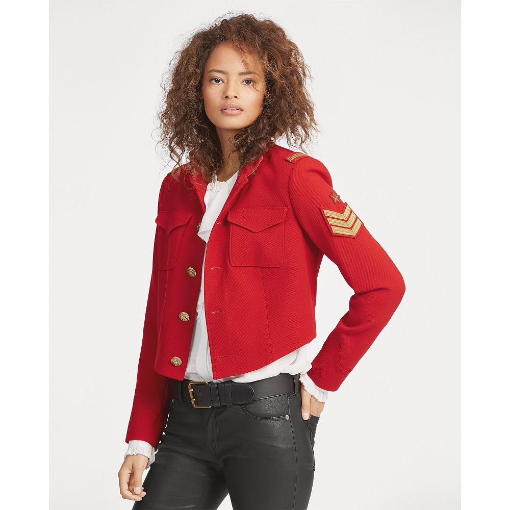 Polo Ralph Lauren Veste militaire courte en tweed rouge Veste Femme Ralph Lauren