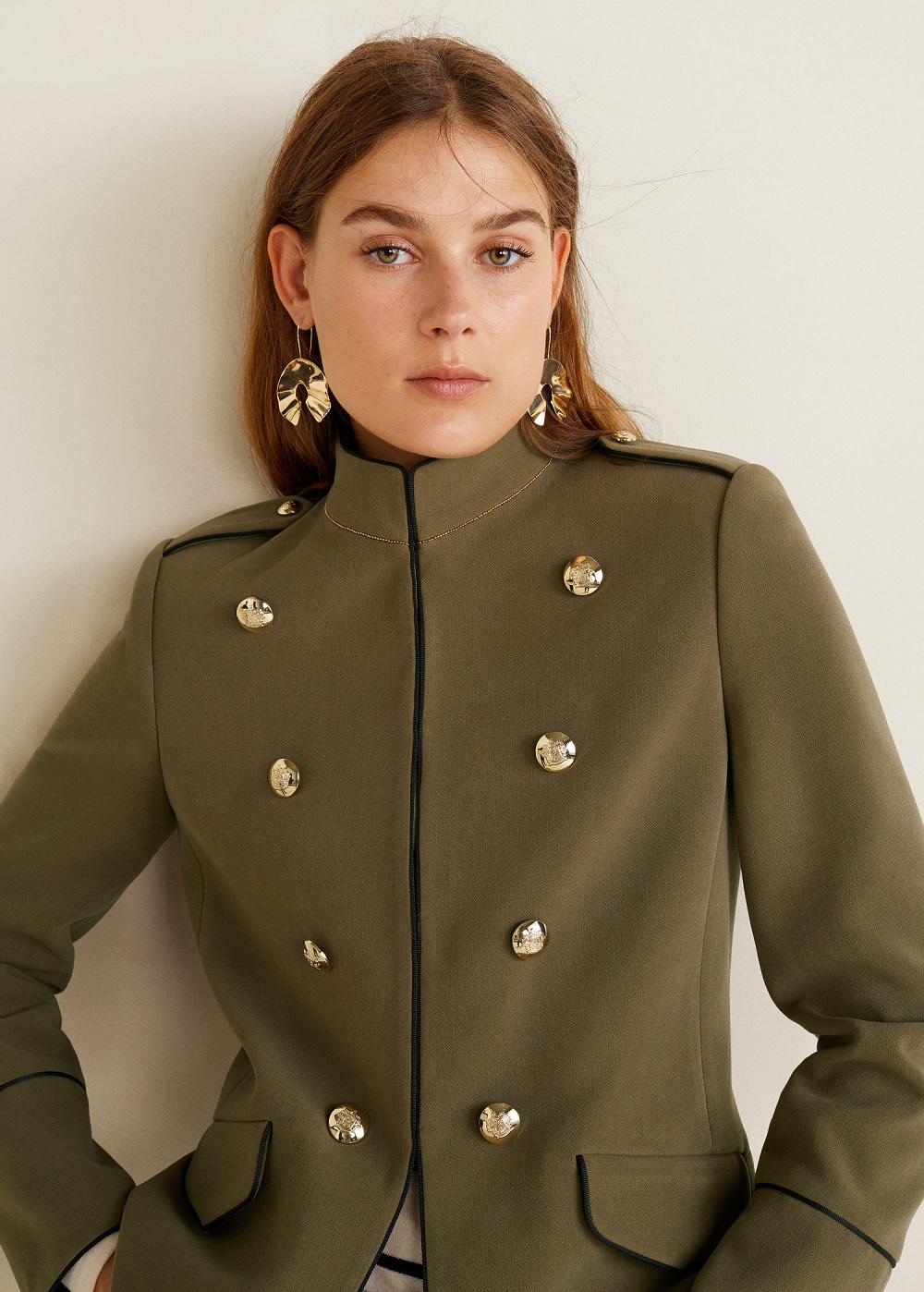 Mango Femme Bombon Khaki Perles Style À Militaire Veste wn8gTqUw