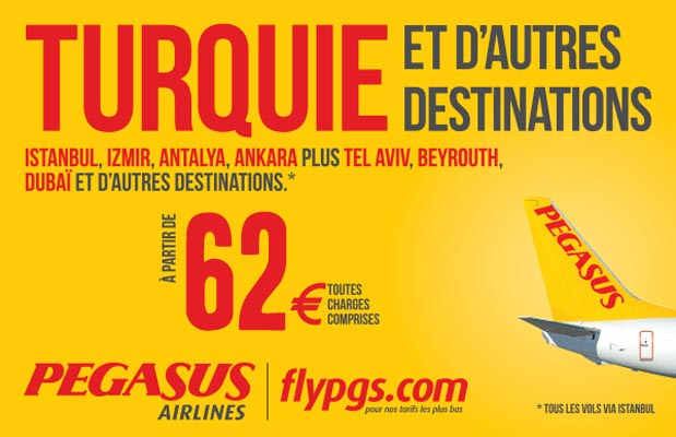 go voyages vol pegasus airlines billet d 39 avion pas cher turquie 62 00 euros. Black Bedroom Furniture Sets. Home Design Ideas