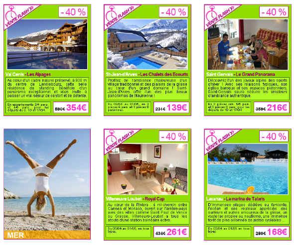 Voyages Loisirs Vente Flash Location de Vacances -40%