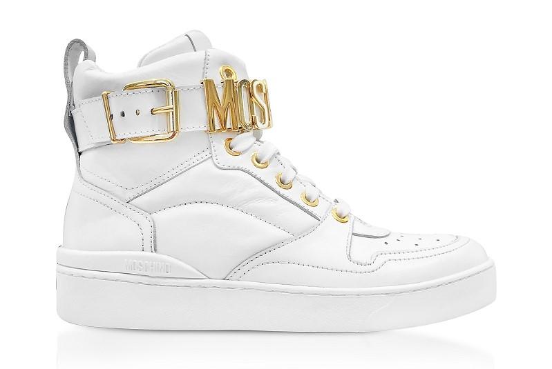 f85bfa872413 Baskets Montantes en Cuir Blanc Optique avec Signature Logo Moschino - Baskets  Femme Forzieri  (Mode) ... 515.00 € TTC - Sneakers montantes femme en cuir  ...
