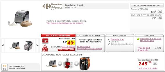 carrefour online machine à pain à 49 € au lieu 59 € sur
