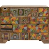 Commode 14 tiroirs PARADISE en manguier massif motifs multicolores